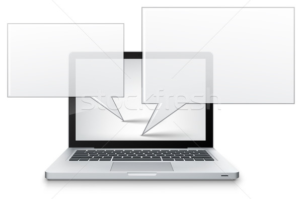 Chat laptop grigio gradiente vettore business Foto d'archivio © RAStudio