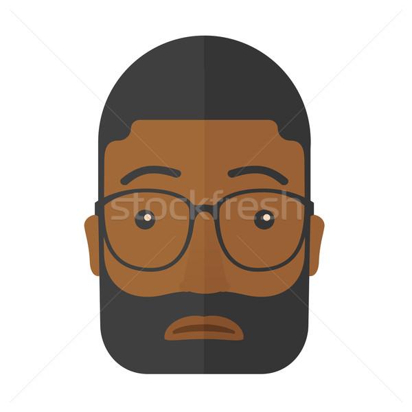 Arckifejezés férfi fekete afrikai visel szemüveg Stock fotó © RAStudio