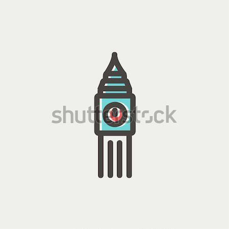 Big Ben horloge léger ligne icône web Photo stock © RAStudio