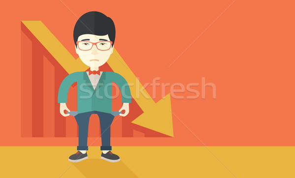 Chinês empresário fracassado moço em pé ruim Foto stock © RAStudio