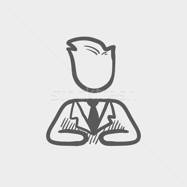 Stock fotó: üzletember · megnyugtató · rajz · ikon · háló · mobil