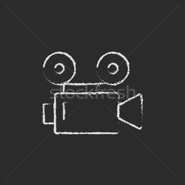 Caméra vidéo icône craie dessinés à la main tableau noir Photo stock © RAStudio