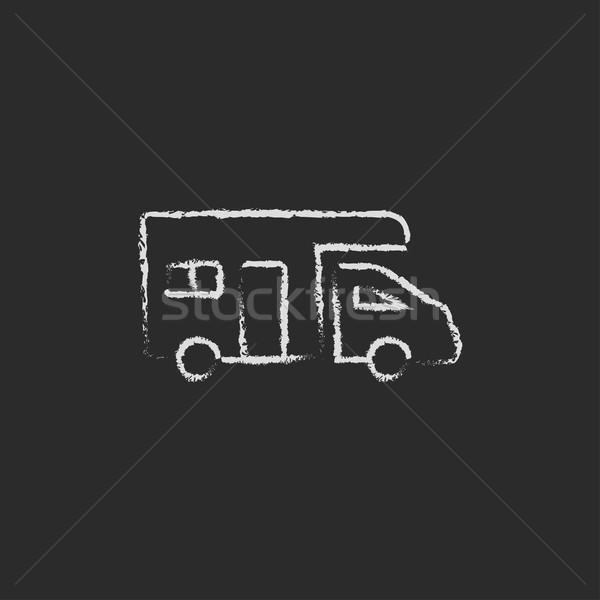 Lakókocsi furgon ikon rajzolt kréta kézzel rajzolt Stock fotó © RAStudio