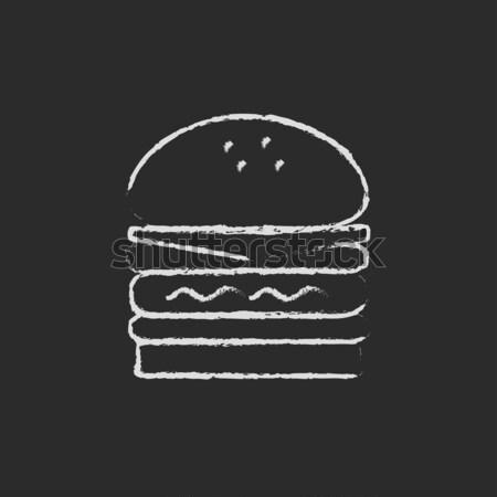 Podwoić burger ikona kredy Zdjęcia stock © RAStudio