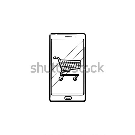 Online shopping icon drawn in chalk. Stock photo © RAStudio