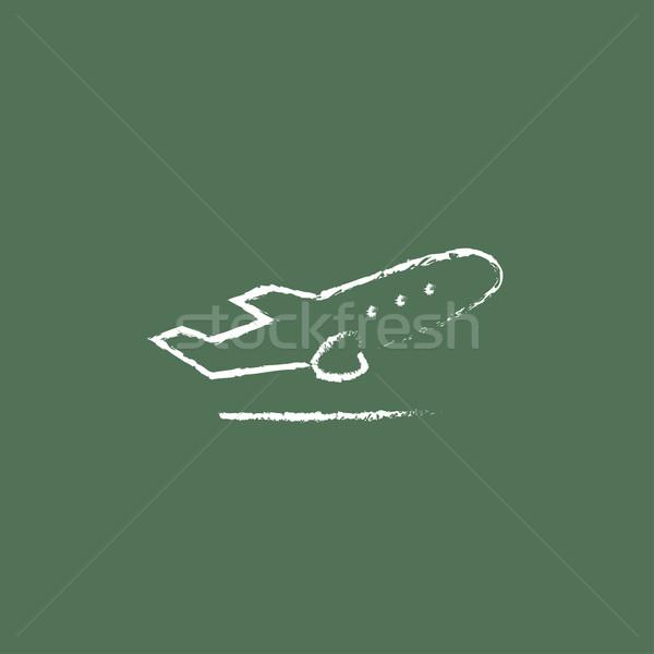 Plane taking off icon drawn in chalk. Stock photo © RAStudio