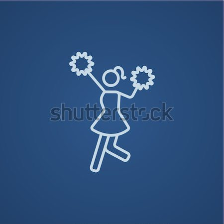 Cheerleader lijn icon web mobiele infographics Stockfoto © RAStudio