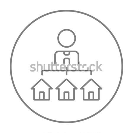 три домах линия икона веб Сток-фото © RAStudio