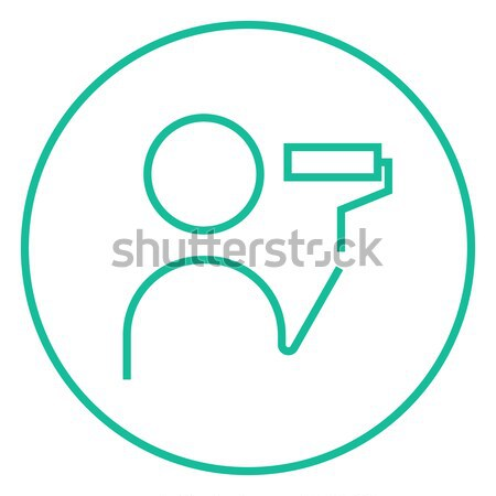 Man painting with roller line icon. Stock photo © RAStudio