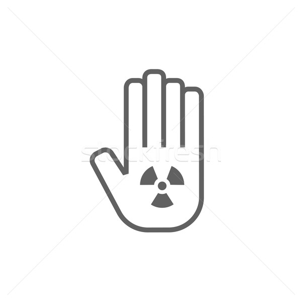Promieniowanie podpisania dłoni line ikona Zdjęcia stock © RAStudio