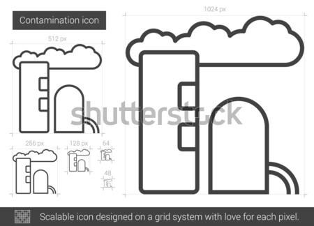 Rafineri bitki hat ikon köşeler web Stok fotoğraf © RAStudio