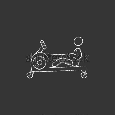 Man exercising with gym apparatus line icon. Stock photo © RAStudio