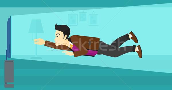 человека страдание телевизор зависимость азиатских Flying Сток-фото © RAStudio