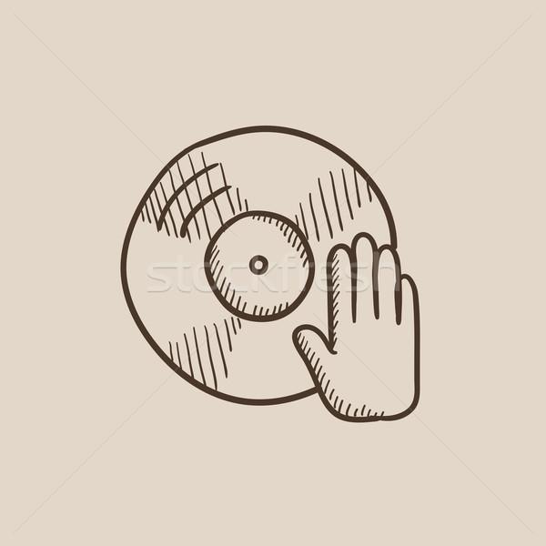 Lemez kéz rajz ikon háló mobil Stock fotó © RAStudio