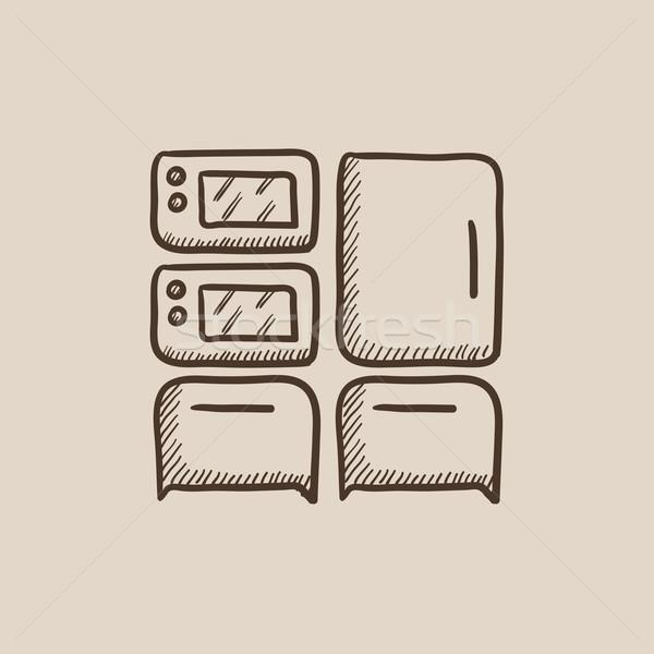 Stok fotoğraf: Ev · kroki · ikon · web · hareketli