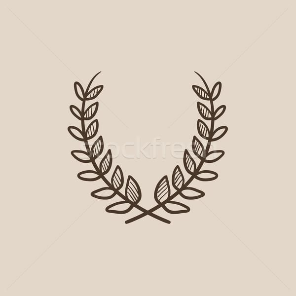Defne çelenk kroki ikon web hareketli Stok fotoğraf © RAStudio