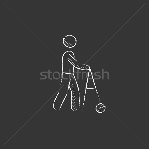 Man with walker. Drawn in chalk icon. Stock photo © RAStudio
