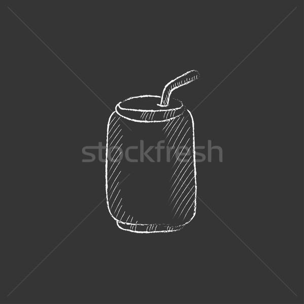 питьевой соломы мелом икона Сток-фото © RAStudio