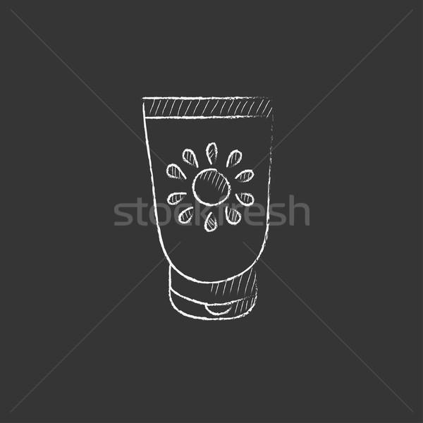 Солнцезащитный крем мелом икона рисованной вектора Сток-фото © RAStudio