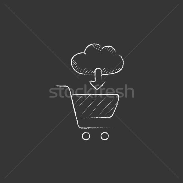 Stok fotoğraf: Online · alışveriş · tebeşir · ikon · bulut · ok