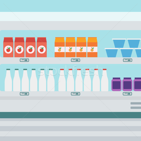 Supermarket shelves with dairy products. Stock photo © RAStudio
