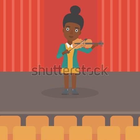 Nő játszik hegedű színpad vektor terv Stock fotó © RAStudio