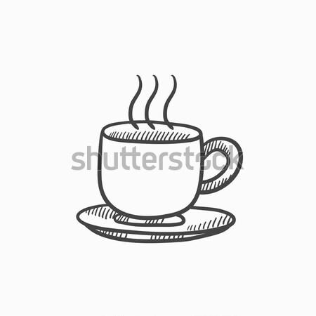 Beker warme drank schets icon vector geïsoleerd Stockfoto © RAStudio