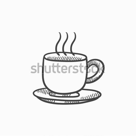 Cup bevanda calda sketch icona vettore isolato Foto d'archivio © RAStudio