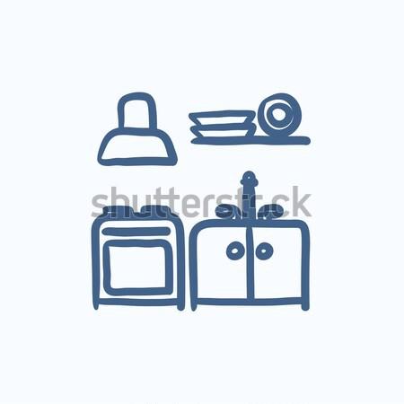 Keuken interieur schets icon vector geïsoleerd Stockfoto © RAStudio