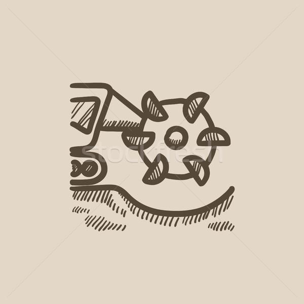Coal machine with cutting drum sketch icon. Stock photo © RAStudio