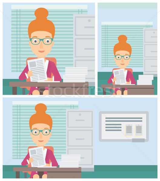HR manager checking files vector illustration. Stock photo © RAStudio