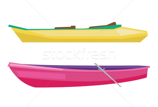 Rowing boat with paddles and canoe. Stock photo © RAStudio