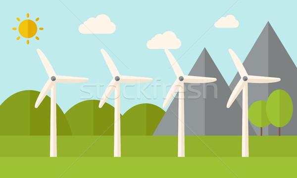 Four windmills  Stock photo © RAStudio