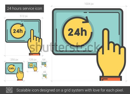 Twenty four hours service line icon. Stock photo © RAStudio