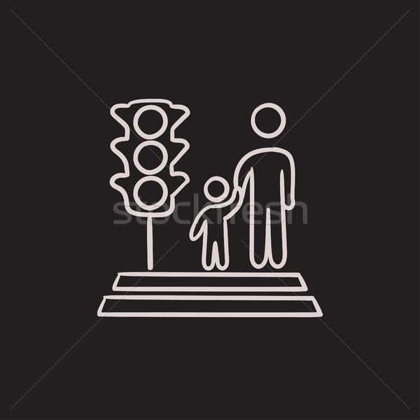 Parent and child crossing the street sketch icon. Stock photo © RAStudio
