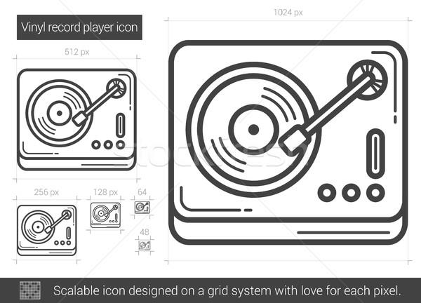 Vinil toca disco linha ícone vetor isolado Foto stock © RAStudio