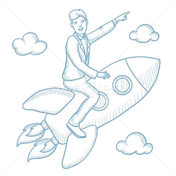 Stock fotó: üzlet · kezdet · felfelé · vektor · rajz · illusztráció