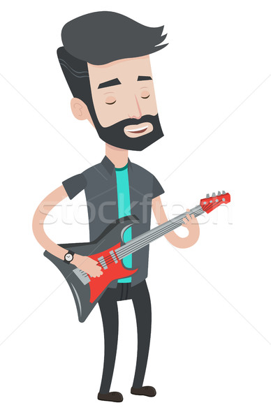 Man playing electric guitar vector illustration. Stock photo © RAStudio