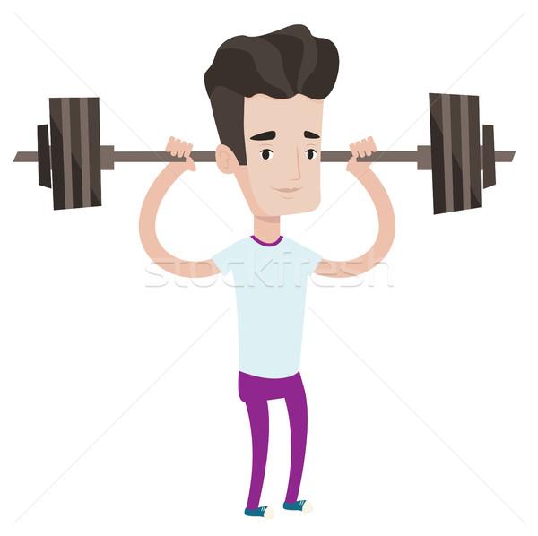 Weightlifter lifting barbell vector illustration. Stock photo © RAStudio