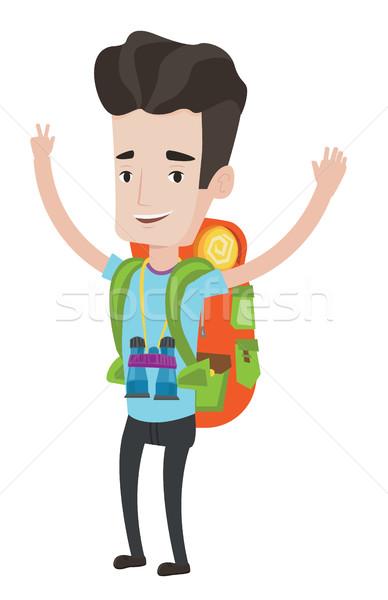 Backpacker handen omhoog kaukasisch rugzak verrekijker permanente Stockfoto © RAStudio