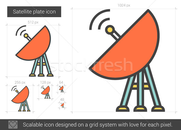 Satellite plaque ligne icône vecteur isolé Photo stock © RAStudio
