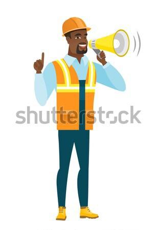 Builder parlando altoparlante annuncio Foto d'archivio © RAStudio
