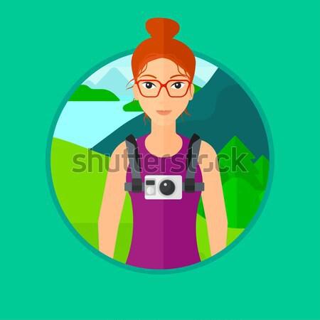 женщину гарнитура Flying открытых пространстве виртуальный Сток-фото © RAStudio