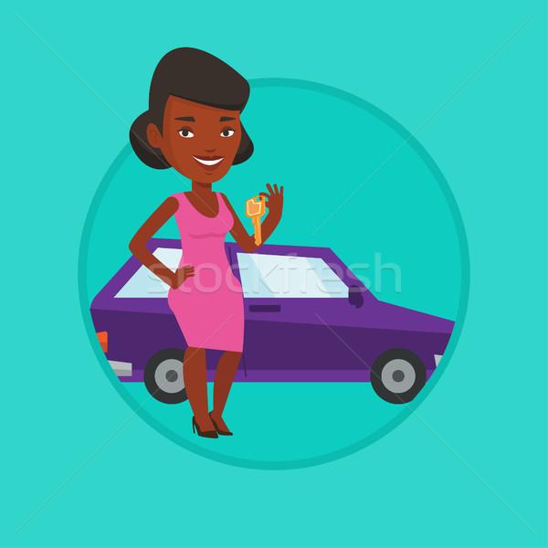Mujer claves coche nuevo clave Foto stock © RAStudio