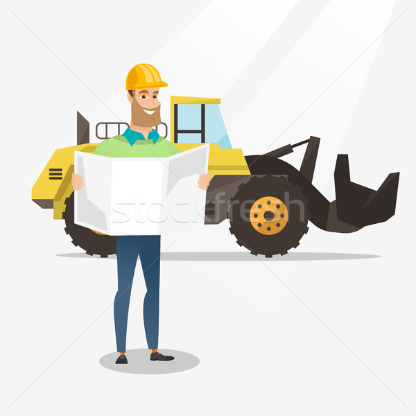 Engineer watching a blueprint vector illustration. Stock photo © RAStudio