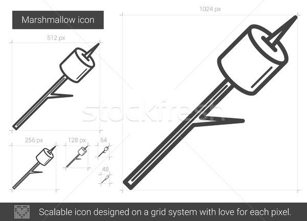 Marshmallow linha ícone vetor isolado branco Foto stock © RAStudio