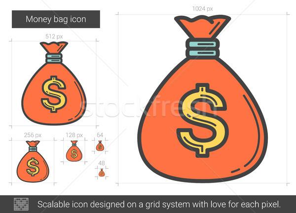 Money bag line icon. Stock photo © RAStudio