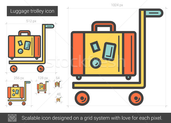 Luggage trolley line icon. Stock photo © RAStudio