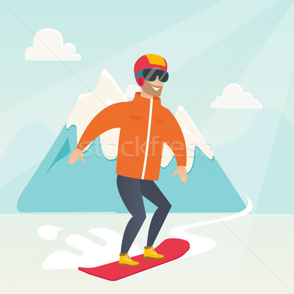 Jeunes homme snowboard neige Photo stock © RAStudio