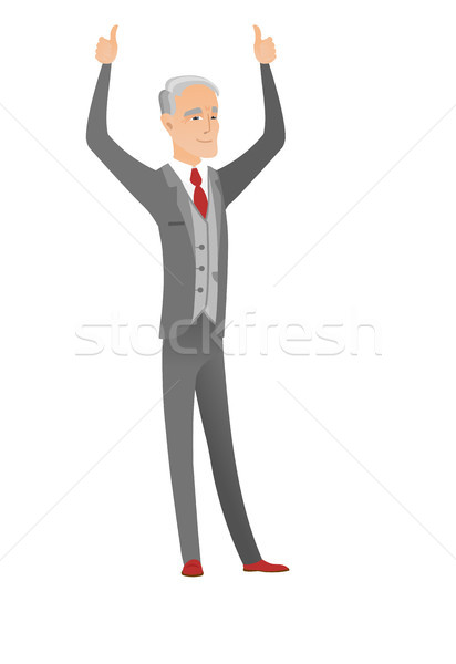 Caucasian businessman standing with raised arms up Stock photo © RAStudio